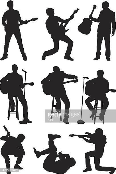men playing guitar and singing - guitarist stock illustrations, clip art, cartoons, & icons