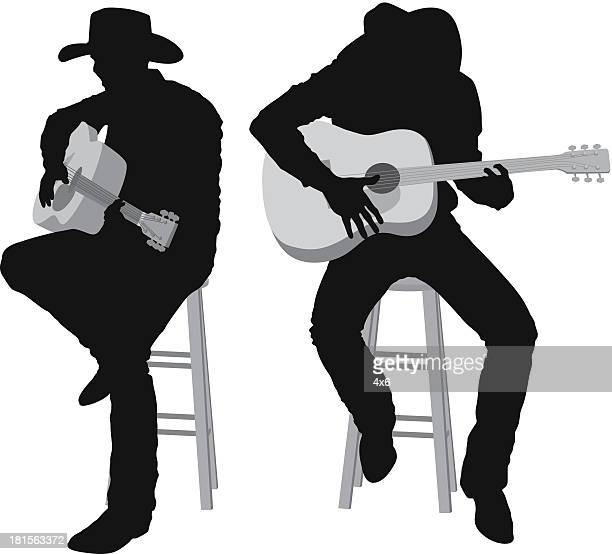 men playing guitar - cowboy hat stock illustrations, clip art, cartoons, & icons
