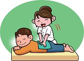 Men receiving massage