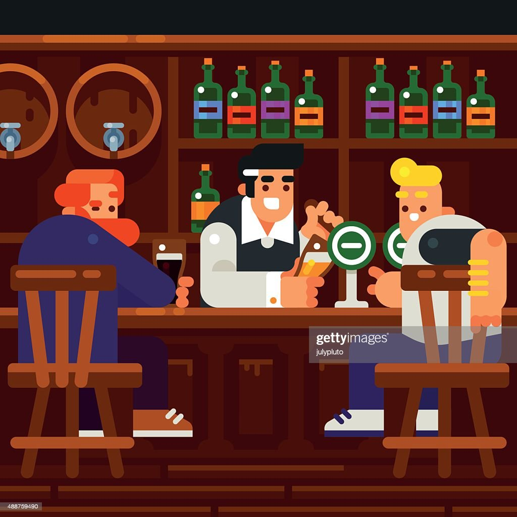 Men Rest and Drink at the Pub