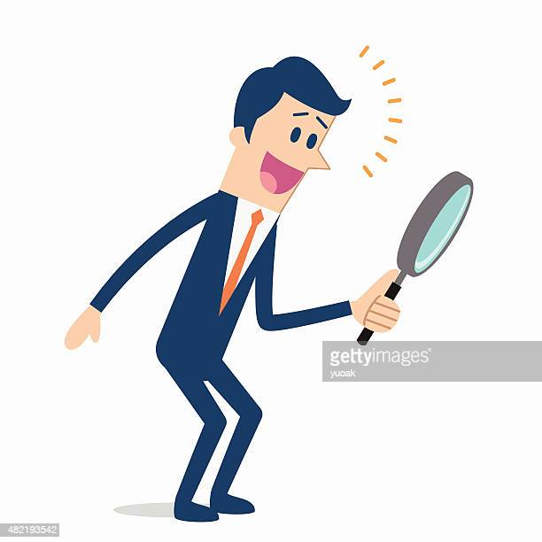 men searching with magnifying glass - bending over stock illustrations, clip art, cartoons, & icons