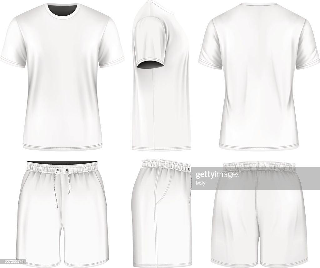 Men short sleeve t-shirt and sport shorts.