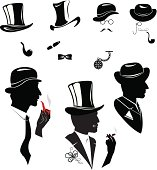 Men silhouettes smoking cigar and pipe in vintage style