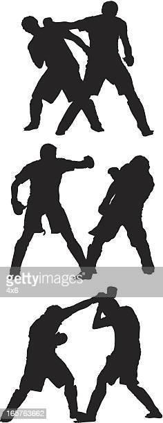 illustrazioni stock, clip art, cartoni animati e icone di tendenza di uomini sparring di arti marziali miste - mixed martial arts