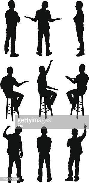 men standing and sitting on stools - shrugging stock illustrations, clip art, cartoons, & icons