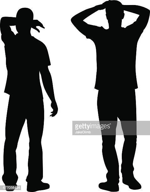 Mann, stehend mit Arme Silhouette
