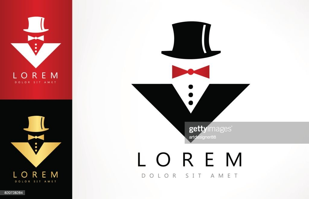 Men suit and hat. Jacket and tie bow symbol.
