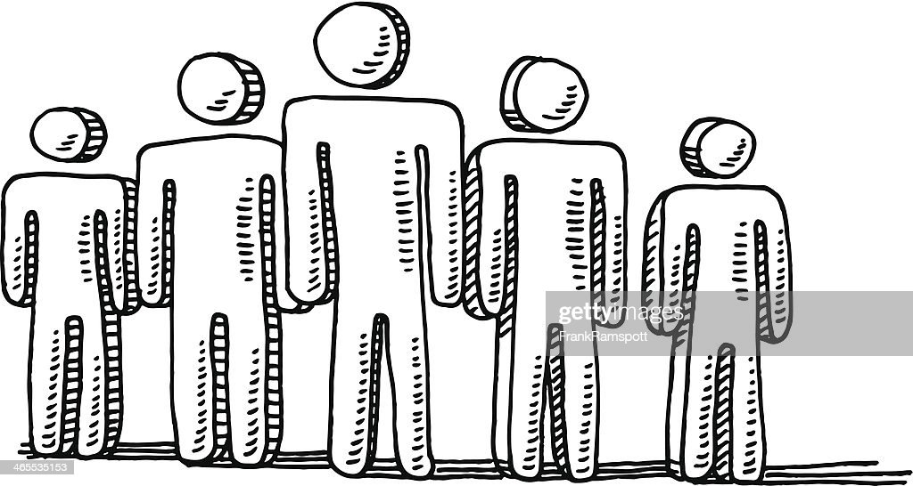 Men Teamwork Symbol Drawing : stock illustration