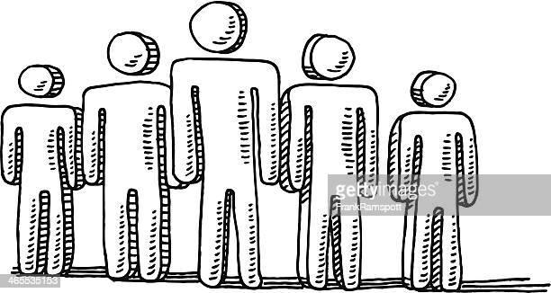 men teamwork symbol drawing - figurine stock illustrations, clip art, cartoons, & icons
