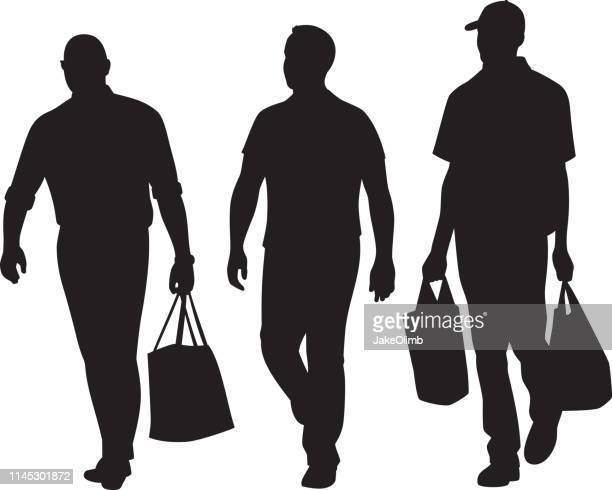 men walking forward silhouettes - adults only stock illustrations