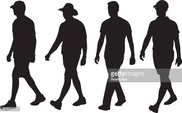 men walking silhouettes - four people stock illustrations