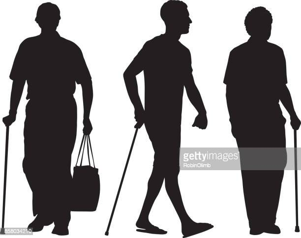 men walking with canes silhouttes - walking cane stock illustrations