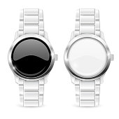 Men watch with metal bracelet. White and black empty clockface
