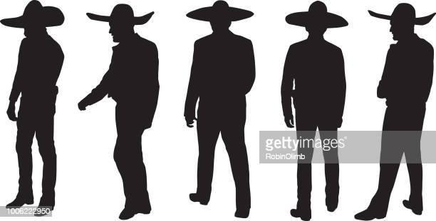 men wearing sombreros silhouettes - sombrero stock illustrations