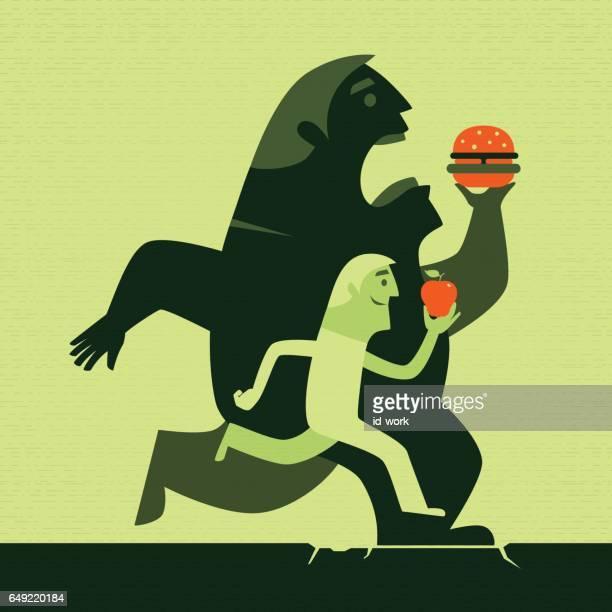 ilustraciones, imágenes clip art, dibujos animados e iconos de stock de hombres con manzana y hamburguesa corriente silueta - comer