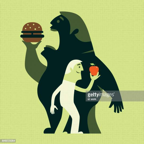 men with apple and hamburger silhouette