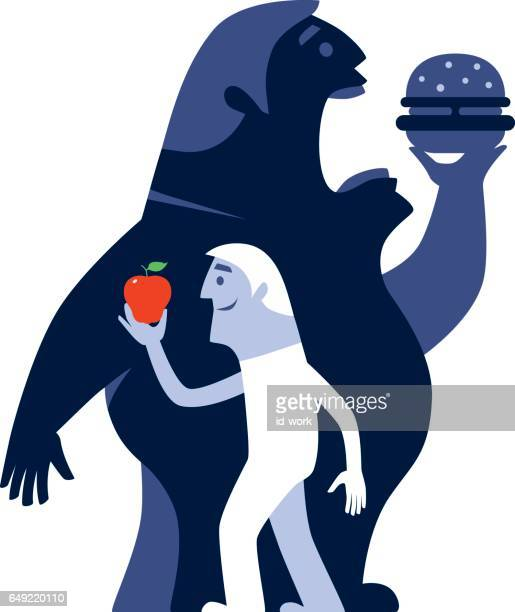 men with apple and hamburger silhouette - unhealthy living stock illustrations, clip art, cartoons, & icons