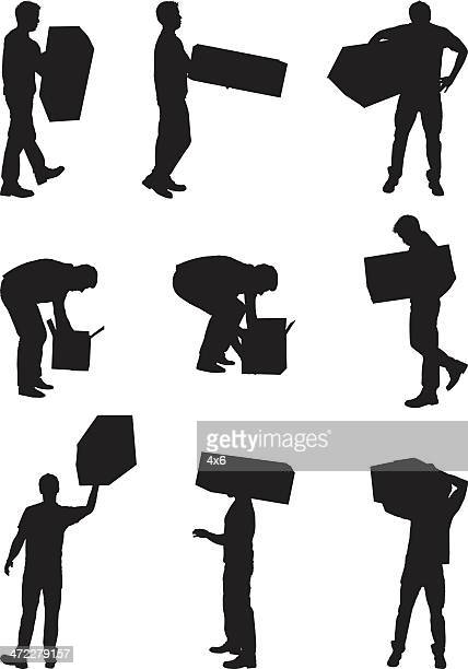 men with cardboard boxes - bending over stock illustrations, clip art, cartoons, & icons
