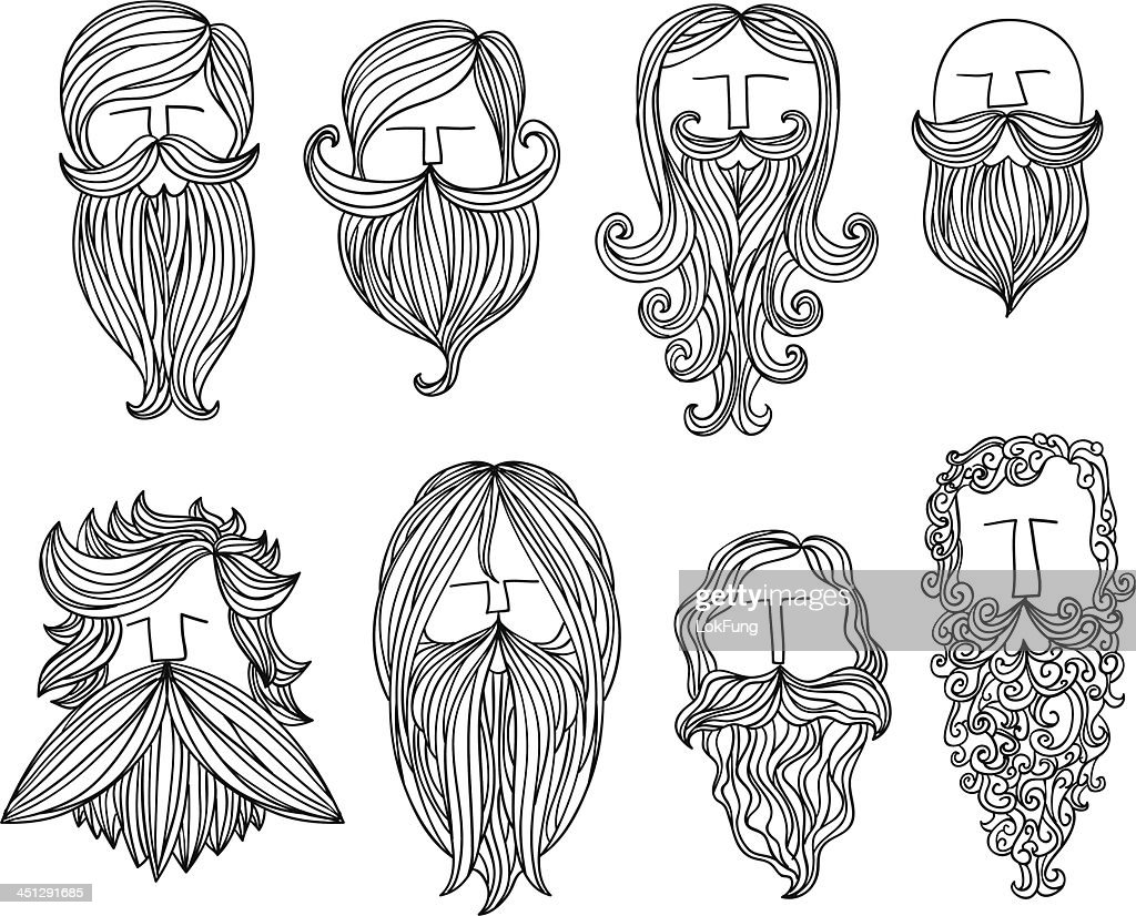 Men With Different Style Of Mustache Vector Art Getty Images - Different hair style drawing