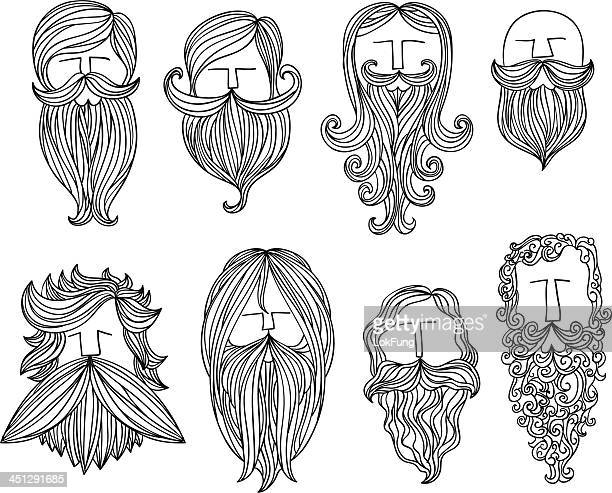 men with different style of mustache - long hair stock illustrations