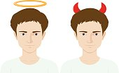 Men with evil horns and angel ring