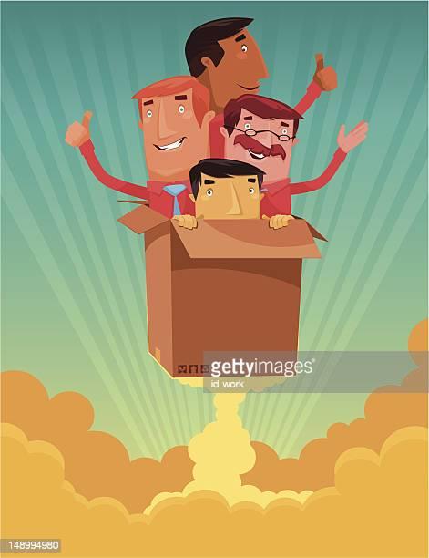 men with launching carton