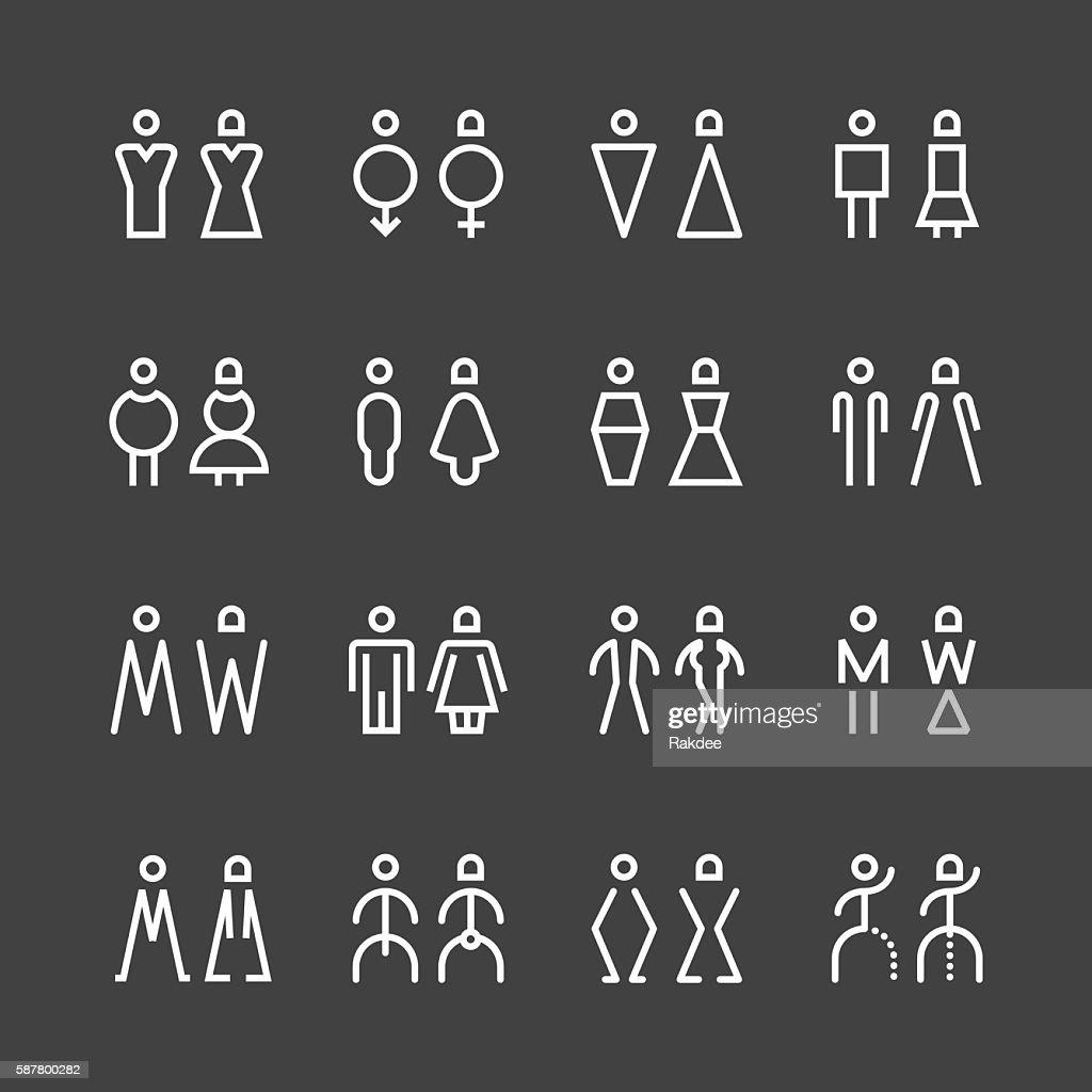 Men & Women Icon - White Line Series : stock illustration