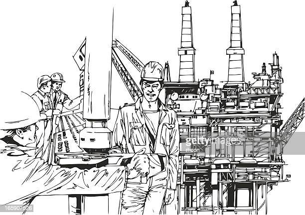 men working on a oil platform - oil field stock illustrations, clip art, cartoons, & icons
