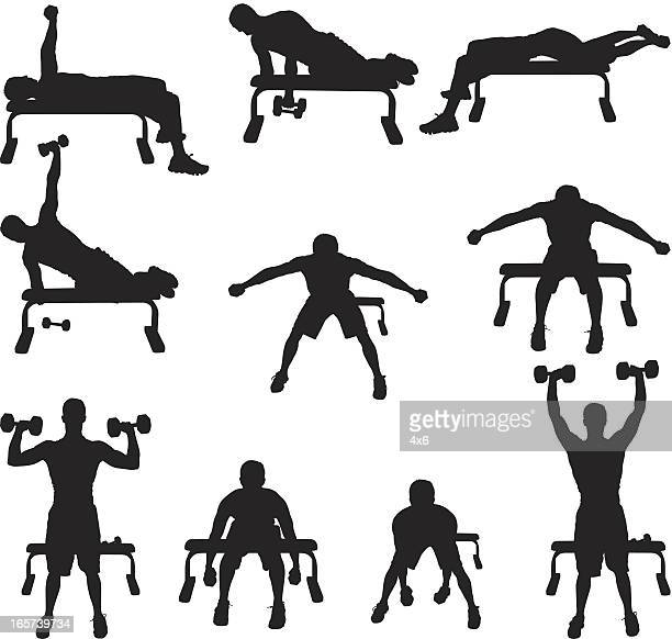 Men working out lifting weights
