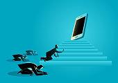 Men worshiping a gadget or smart phone
