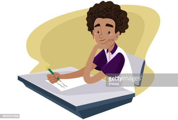 ilustrações, clipart, desenhos animados e ícones de menino fazendo prova - escola