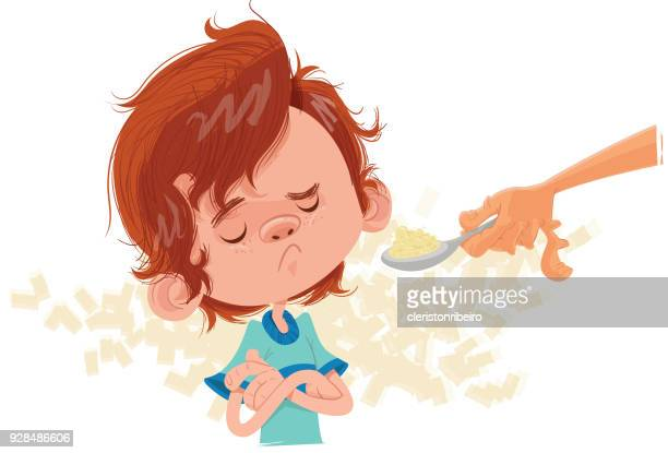 ilustrações de stock, clip art, desenhos animados e ícones de menino não quer comer - mesa cafe da manha