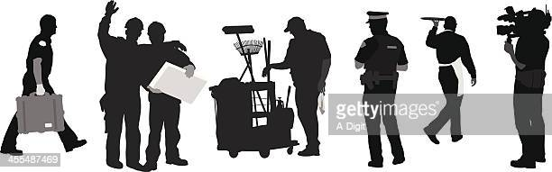 men'n jobs - street sweeper stock illustrations