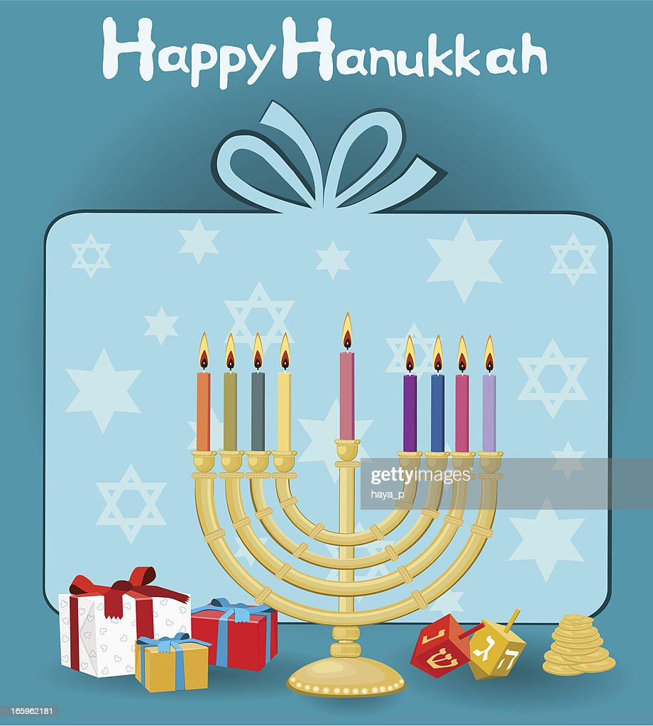 Menorah, Dreidel, Gift and Happy Hanukkah Text