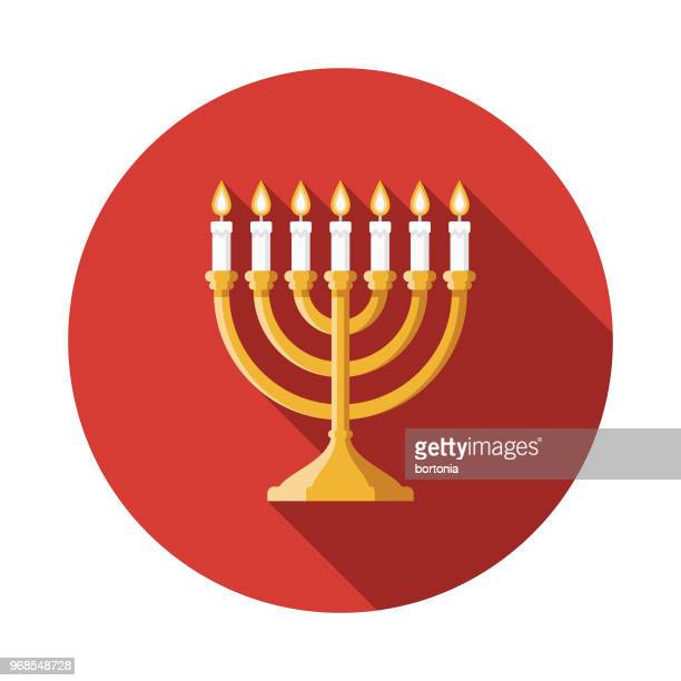 illustrations, cliparts, dessins animés et icônes de la menorah design plat hanukkah icône - hanoukka