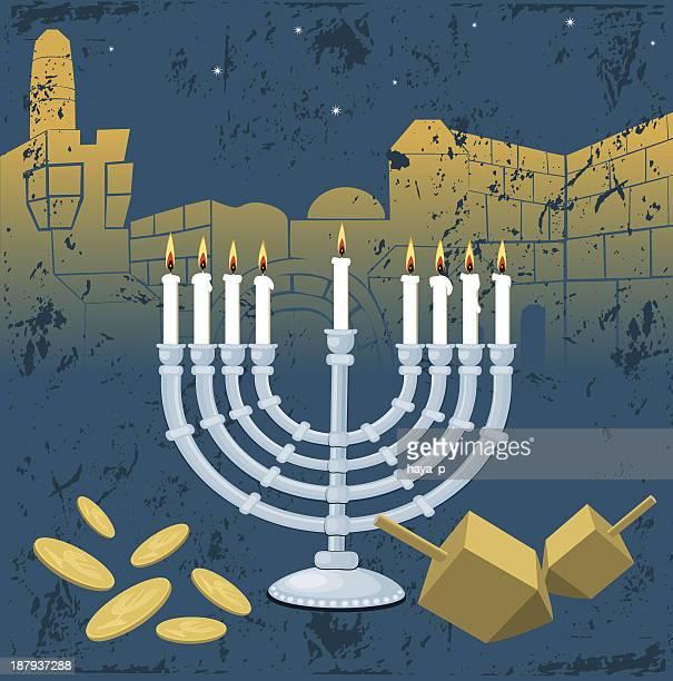 menorah, hanukkah, jerusalem, dreidel, gelt - wailing wall stock illustrations, clip art, cartoons, & icons