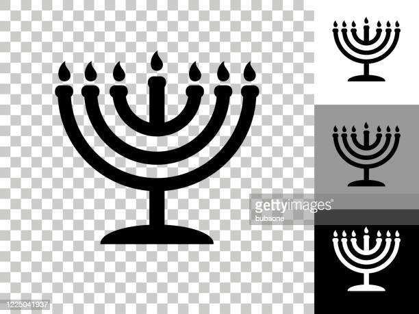 menorah icon on checkerboard transparent background - menorah stock illustrations