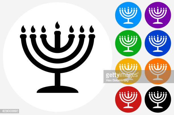 illustrations, cliparts, dessins animés et icônes de menorah icon on flat color circle buttons - hanoukka