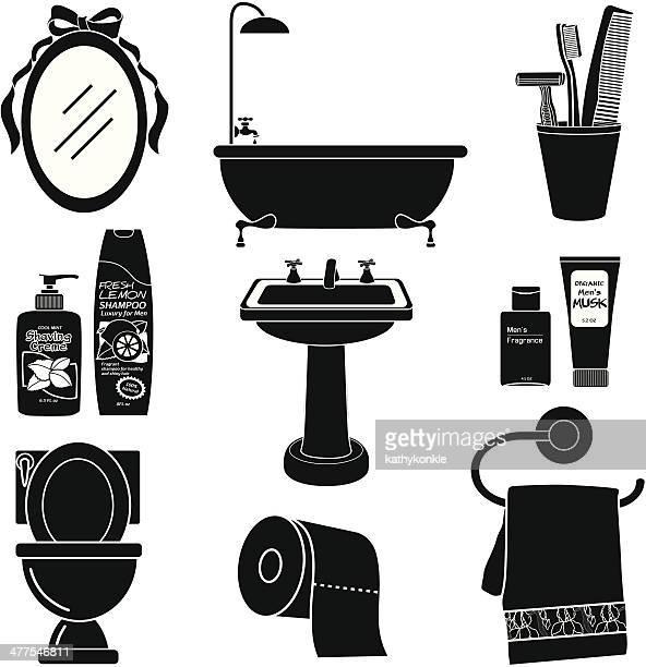 男性用バスルームのアイコンセット、ブラックとホワイト