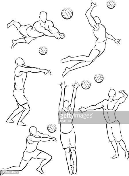 ilustraciones, imágenes clip art, dibujos animados e iconos de stock de vóleibol de playa masculino 1 - vóleibol de playa