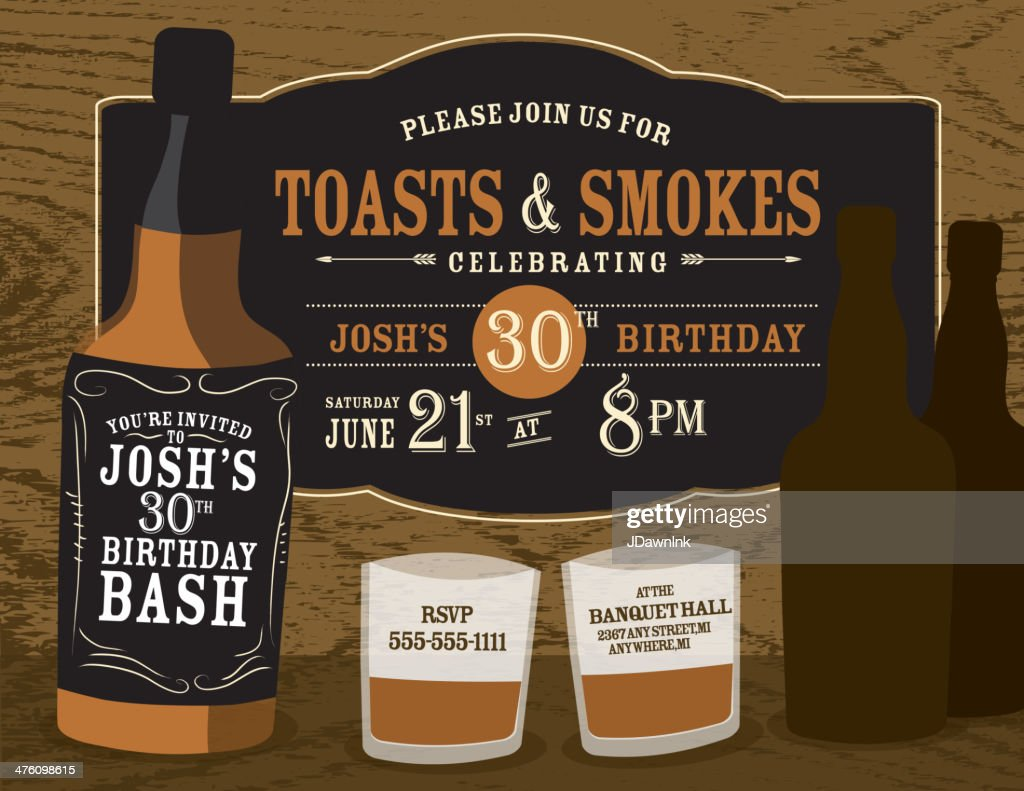 Mens birthday party invitation design with liquor bottles vector art mens birthday party invitation design with liquor bottles vector art filmwisefo