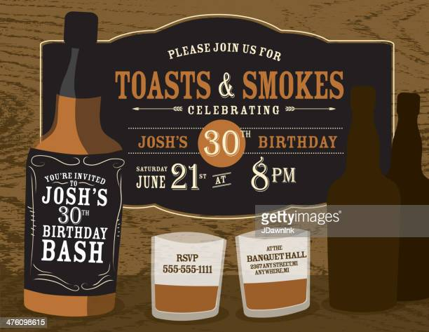 men's birthday party invitation design with liquor bottles - whiskey stock illustrations, clip art, cartoons, & icons