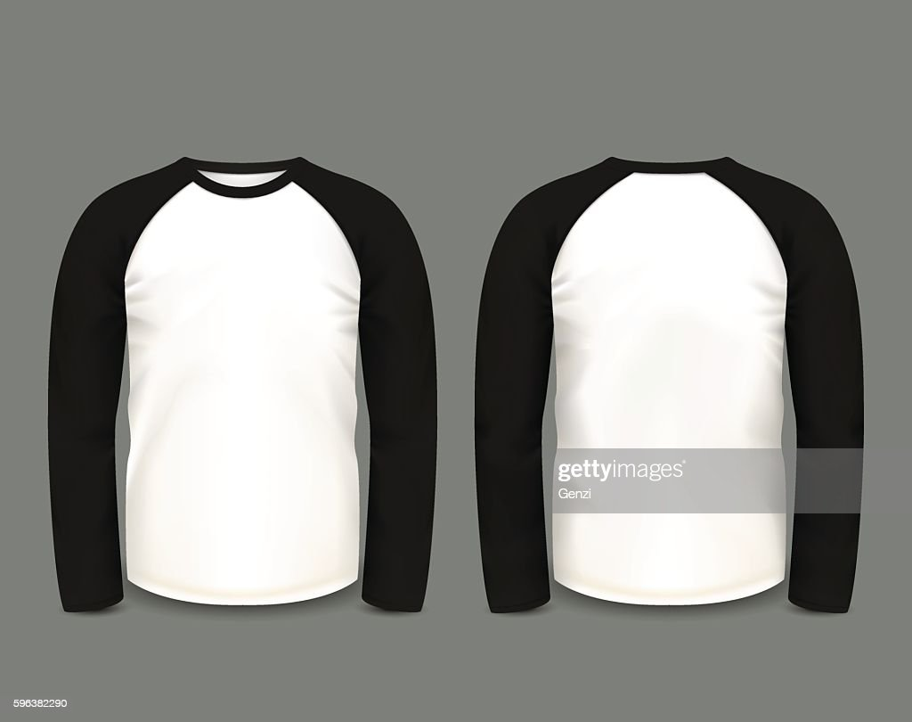 Men's black raglan sweatshirt long sleeve. Vector template.