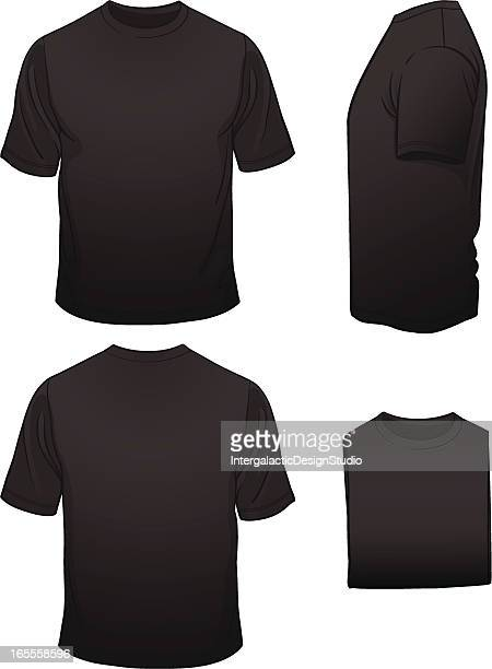 Men's Blank Black T-shirt in Four Views