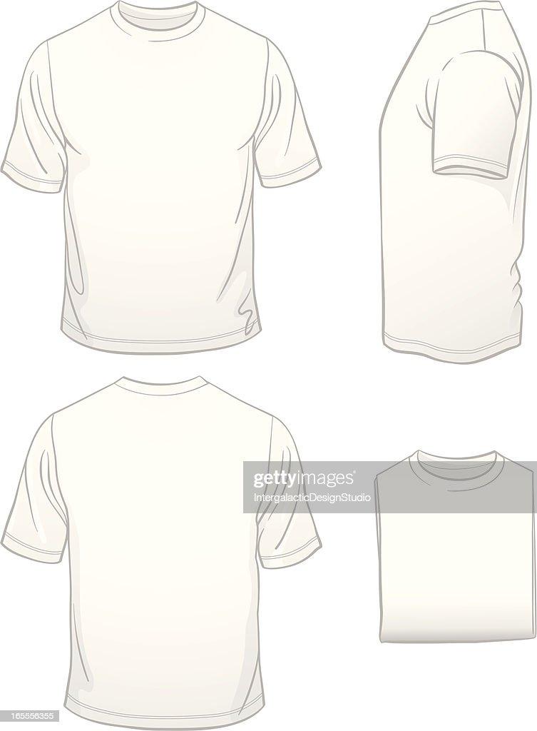 Men's Blank White T-shirt in Four Views