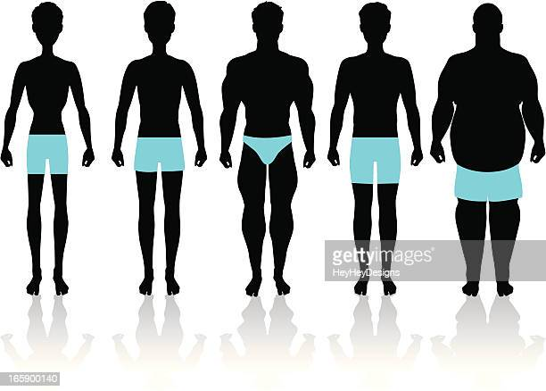 men's body types - slim stock illustrations