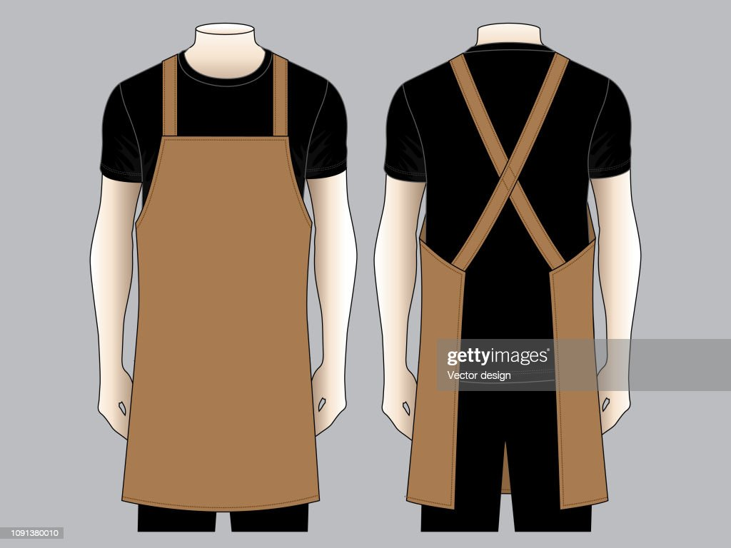 Men's Brown Apron Vector for Template