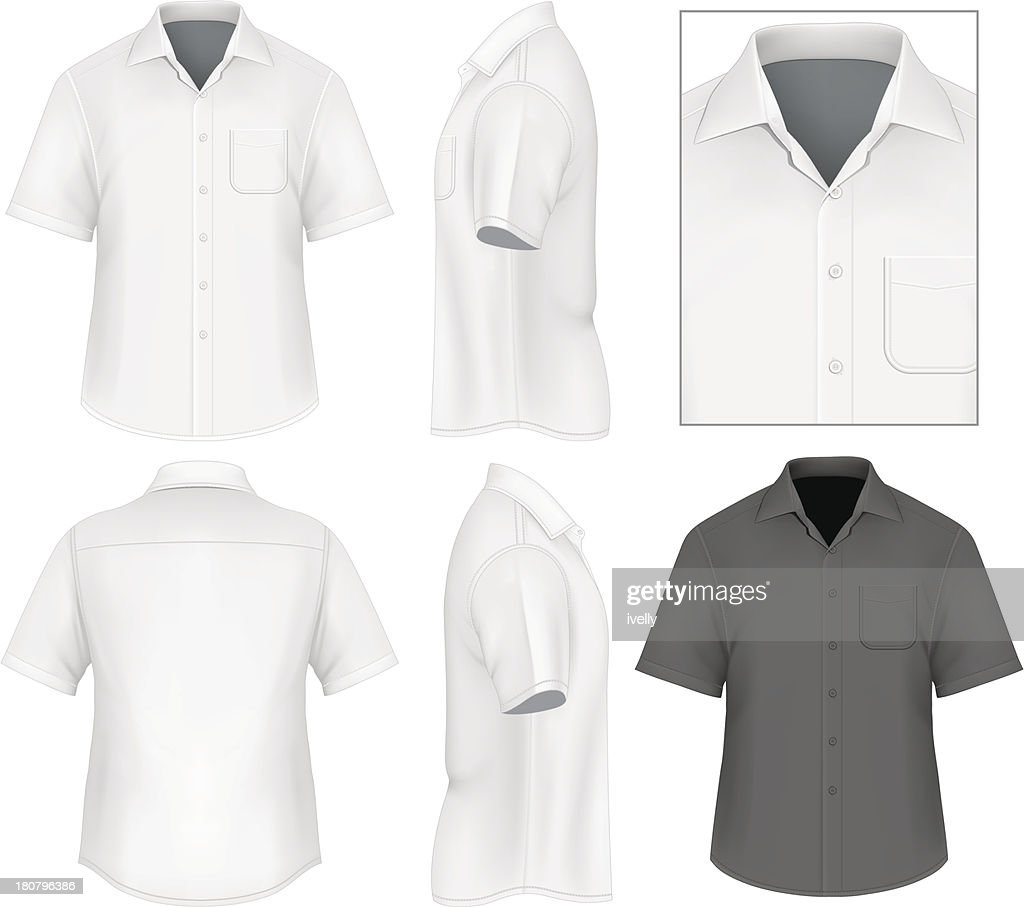 Men's button down shirt design template