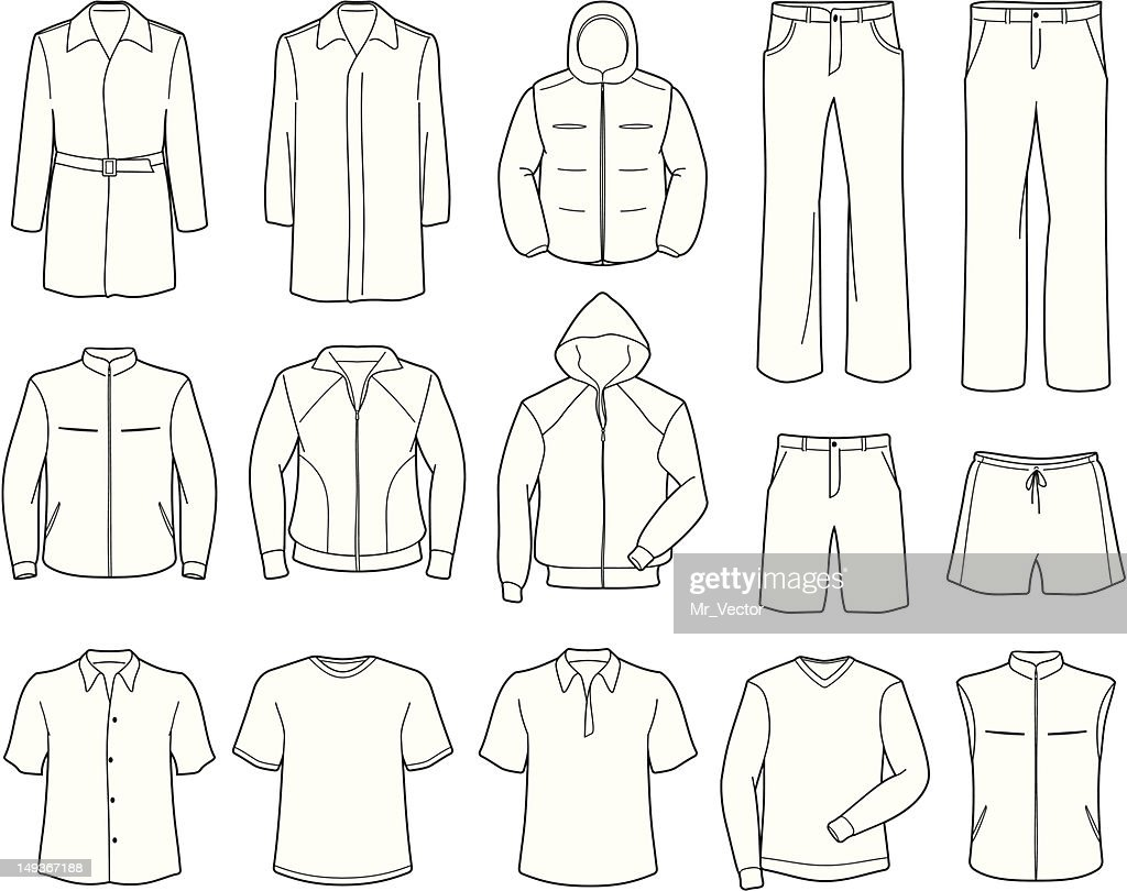 Mens casual clothes and sportswear vector illustration