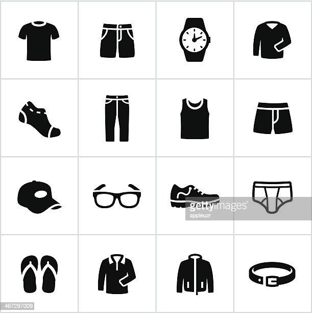 mens casual wear icons - underwear stock illustrations, clip art, cartoons, & icons
